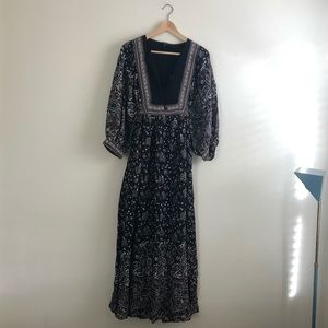 Lucky Brand Peasant Dress Floral Sz S Waist Tie